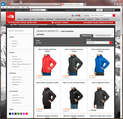 The North Face U.K. site powered by EasyAsk
