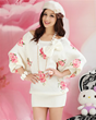 Pink Doll White Rose Print Batwing-sleeved Knitted Sweater Dress for Women