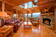living room of log cabin