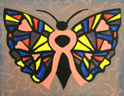The butterfly painting, which participants will paint, symbolizes life and hope.