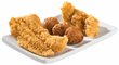 Whitefish, chicken tender and hushpuppies