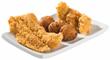 Whitefish, chicken tender and hushpuppies
