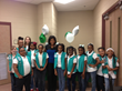 Girl Scout Junior Troop with local tv news anchor