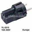 SHUCKO Europe 3 prong plug to NEMA 5-15R 3 prong USA receptacle
