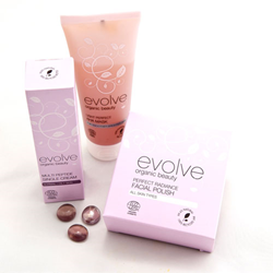 Evolve Light Perfect AHA Mask with Evolve Multi Peptide Double Day Moisturising Cream and Evolve Facial Polish