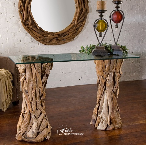 teak root glass top console table from uttermost