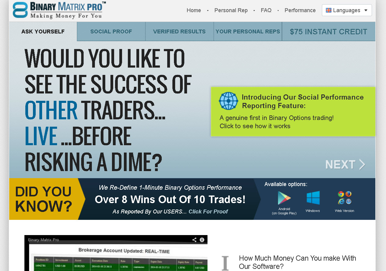 Social binary options