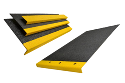 Fiberglass step covers and walkways provide a lightweight and durable anti-slip surface.