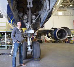 Small Army Studios President, Steve Kolander, on shoot at Hartsfield–Jackson Atlanta International Airport