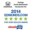 Heritage Honda Westminster Two-Time Edmunds.com Award Winner