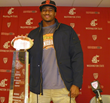 Deone Bucannon with the CFPA Trophy