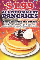 Roy Rogers presents All You Can Eat Pancake Weekends for $1.99 now through May 25th!