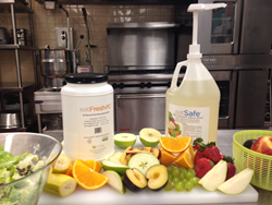 Latest innovation by Grow Green Industries, INC, eatSafe™ incorporated into a two-step fresh produce cleaning initiative to effectively clean fresh fruits and vegetables.