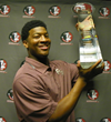Jameis Winston with the CFPA Trophy