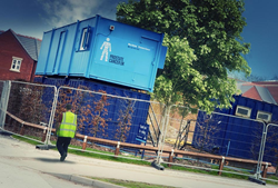 AV Group have specially painted modular buildings in support of PCUK with the agreement of their clients.