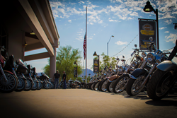 Motorcycles lining the sidewalk at Harley-Davidson of Scottsdale