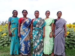 Five budding rural entrepreneurs led by Shanthi (second on the left) raised funds for their new masala making venture.