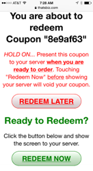 Redeeming emailed coupons on smartphones.