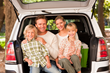 Family packing car for vacation