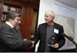 Steve Wozniak presents Modern Marvels award to Michael Sykes, CEO of Enertia Building Systems, Inc.