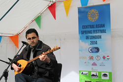 A singer performing at the UCL Novruz event