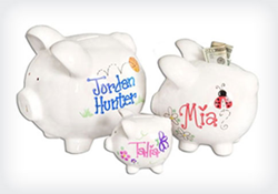 Jumbo Size Personalized Piggy Bank from StorkGifts