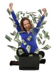 Image credit: <a href='http://www.123rf.com/photo_10695040_the-woman-in-front-of-the-laptop-with-fly-out-dollars-it-is-isolated-on-a-white-background.html'>galdzer / 123RF Stock Photo</a>