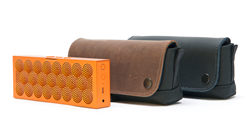 CitySlicker Case for Jawbone Mini Jambox—Jawbone Mini Jambox with CitySlicker in grizzly brown and black leather.