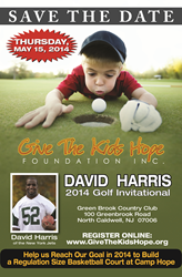 david harris of the ny jets, give the kids hope foundation, charity golf event.