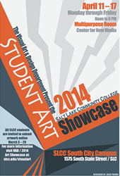 Poster advertising the 2014 Student Art Showcase at Salt Lake Community College