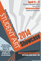 Poster advertising the 2014 Student Art Showcase at Salt Lake Community College