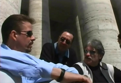 Gary Bergeron, His Father Eddie Bergeron & Fellow Survivor Bernie McDaid in St. Peter's Square, Rome  2003.