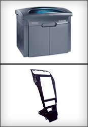 Havis is enhancing business development with a new Stratasys 3D Printer (top). Bottom photo shows a miniature 3D print of the new Havis Integrated Control System.