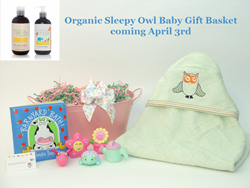 Organic Sleepy Owl Baby Bath Gift Basket available April 3rd