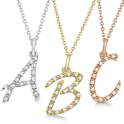 Diamond initial necklaces in all metals at Allurez