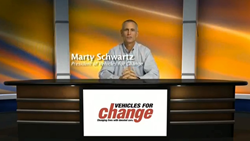Marty Shwartz, President of Vehicles for Change sits at a virtual set created by TalkingTree Creative