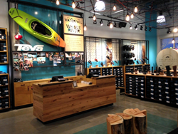 Teva, adventure lifestyle brand, showcases Pioneer Millworks reclaimed oak on their cash wrap