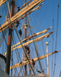 Crew climbing masts of Sea Cloud II