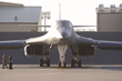 "A B-1 bomber sits on the tarmac at Ellsworth Air Force Base. Four B-1s have returned to service at a savings of about $500,000, thanks to revolutionary ""cold spray"" technology developed at SDSM&T."
