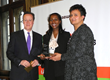 UK Prime Minister David Cameron presented an award to Karen Giles, Headteacher, and Ms Heaton from Barham Primary School. The school in Wembley has supported Sewa Day for the past three years.