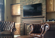 FauxPanels.com Stacked stone fireplace wall