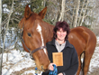 Susan Rauhut and horse Webster with ProChaps/NCCP Coaching Award