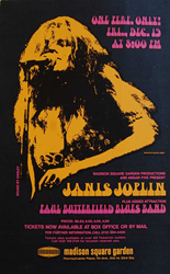 Janis Joplin 1969 Madison Square Garden Boxing Style Concert Poster