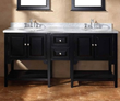James Martin Solid Wood 72 Double Marble Top Bathroom Vanity Black 206-001-5528
