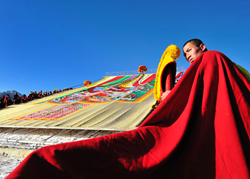 Buddha exhibition ceremony is an important part of most traditional festivals in Tibet.