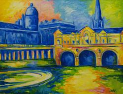Bernard Oulie - VIEW OF PULTENEY BRIDGE Oil on Canvas