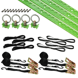 Image of Kawasaki green motorcycle tie down kit from US Cargo Control