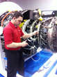 Casey O'Tool demonstrating the VJ-Advance on a CFM 56 High Bypass Turbofan Aviation Turbine, commonly found on Boeing 737 airplane at last year's MRO Americas show