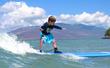 Six-year-old Ryan surfing off the coast of Hawaii.