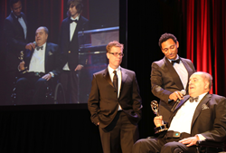 "On Camera Talent Leon Charney accepts New York Emmy Awards for the documentary ""BDC: The Price of Peace"" with Producer Matthew Tollin and Director Harry Hunkele"